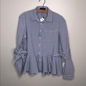 Gracia Blue White Striped Long Sleeve Blouse